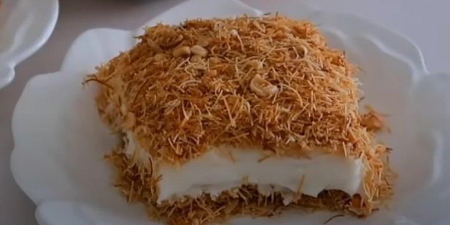 Canı tatlı çekenlere en kolay yapılan tatlılardan Pudingli Kadayıf Tatlısı Tarifi